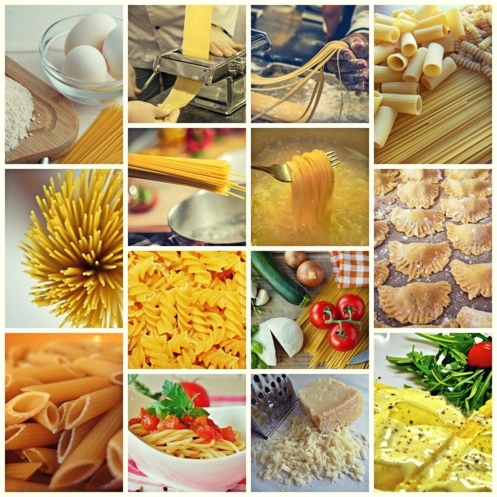 collage, noodles, pasta